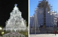 Palazzolo. Niente albero di luci sulla facciata di San Sebastiano: lavori in corso, salta il tradizionale scenario