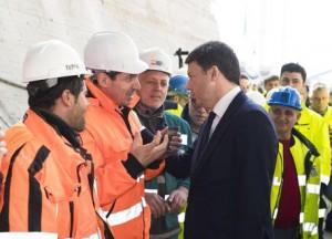 Renzi e Del Rio a Caltanissetta, visita a cantiere stradale